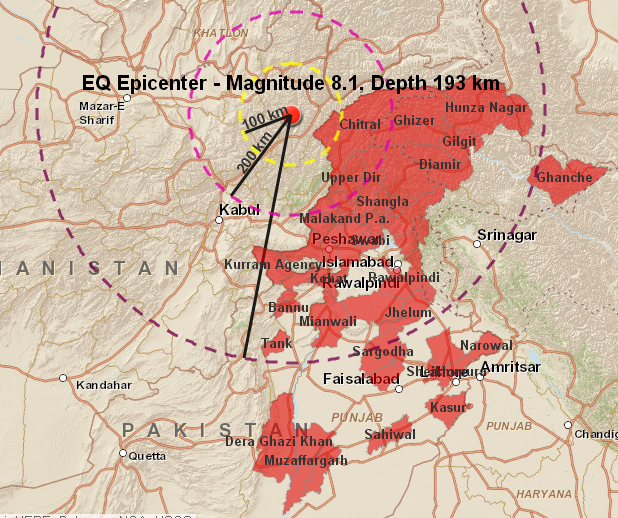 Interactive Map - Earthquake 26 Oct 2015